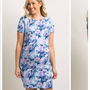 Blue Floral Maternity Dress
